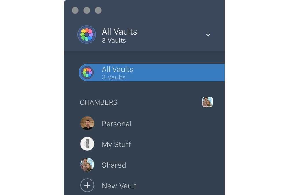 1Password vaults list