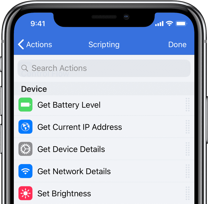 The device detail actions available in Workflow for iOS.
