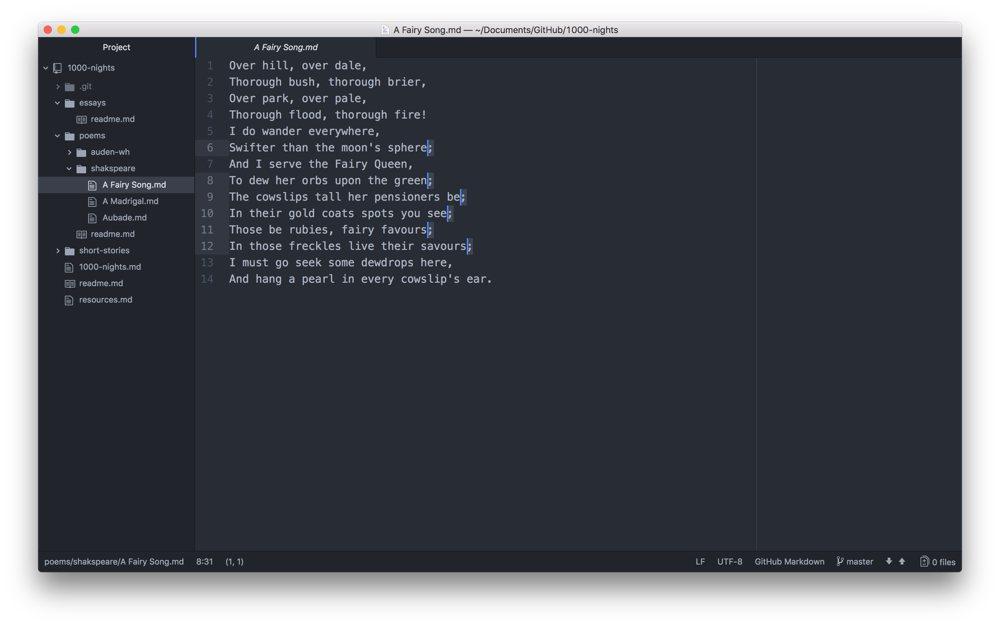 Atom multi-line editing