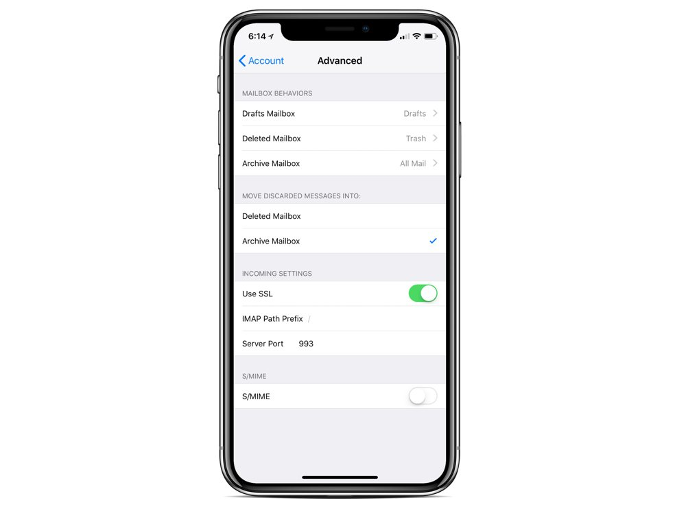 iOS Mail archive settings
