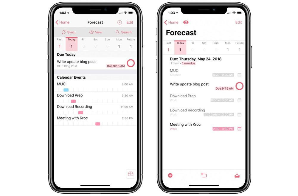 OmniFocus 2 and 3 Forecast perspectives side by side