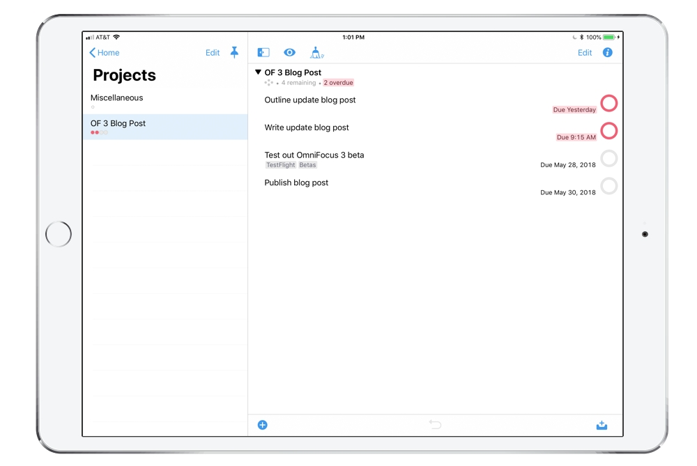 OmniFocus 3 Projects on iPad