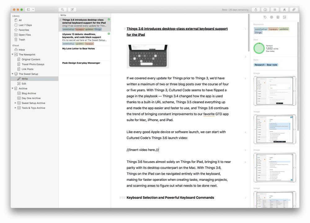 Ulysses 13 debuts: deadlines, keywords, and code block