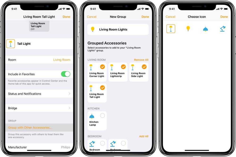 How to group smart accessories in the Home app on iOS