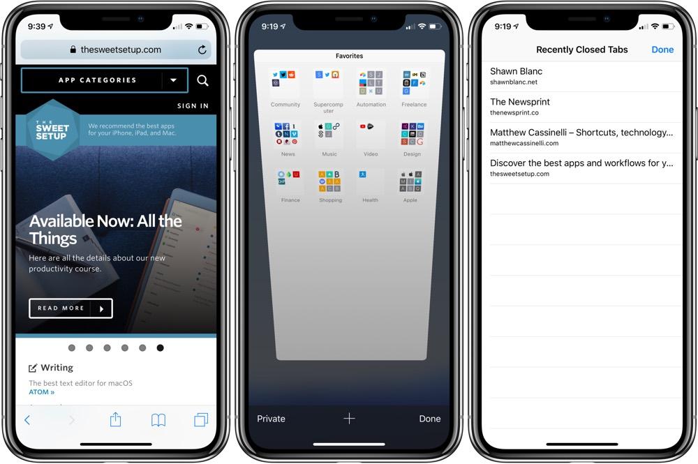 Recently closed tabs in Safari on iOS
