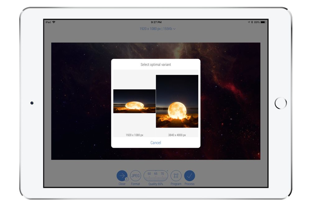 Bulk Photo Processing with CropSize on iPad