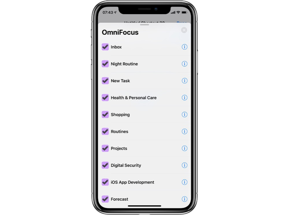 Some example OmniFocus Shortcuts available in the Shortcuts App