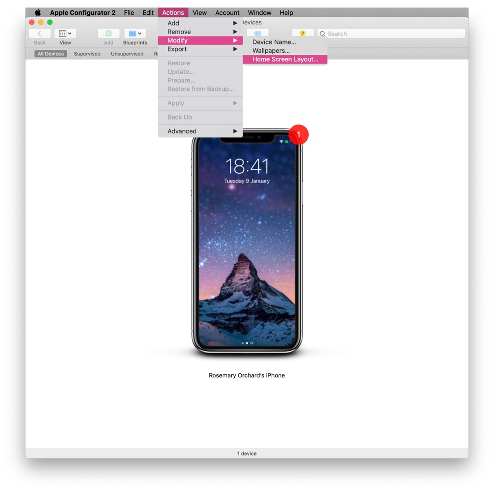 iPhone displayed in Apple Configurator 2