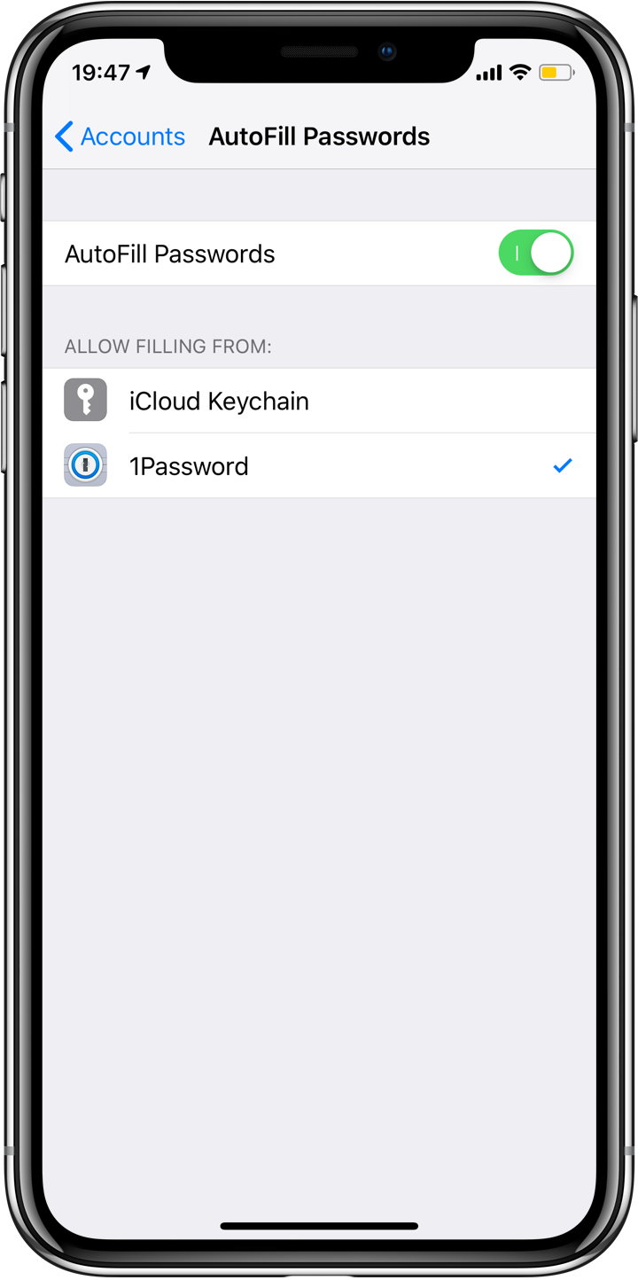 iOS 12 Autofill settings