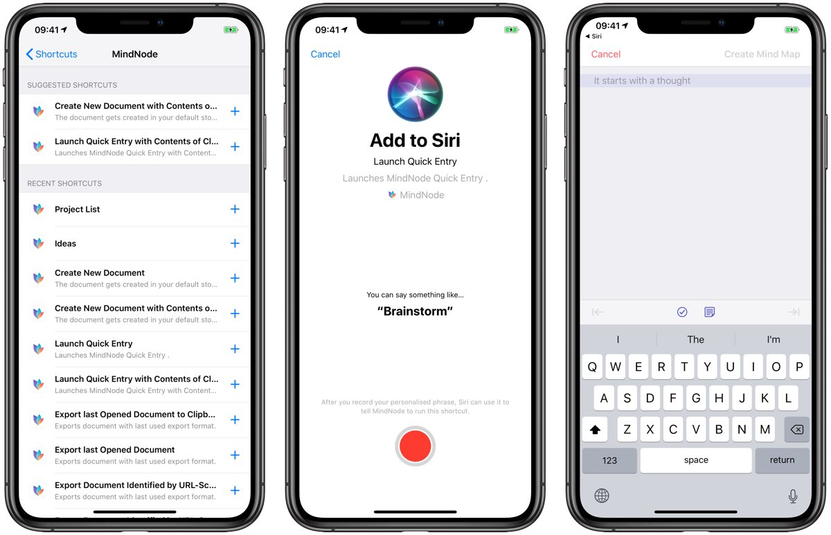 MindNode Shortcuts with Siri