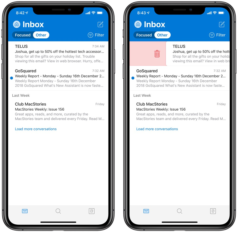 Outlook for iOS Gains New Design and Improved Haptic