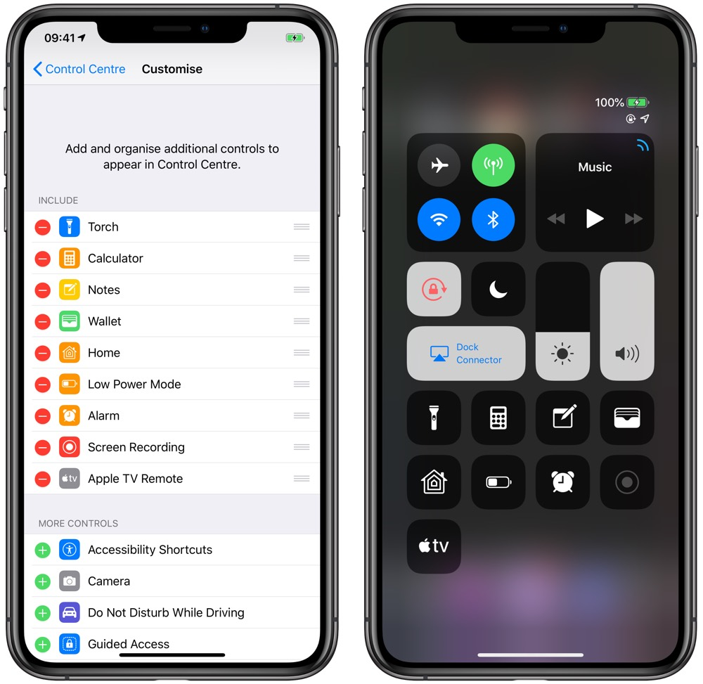 Customizing Control Center on iOS 12