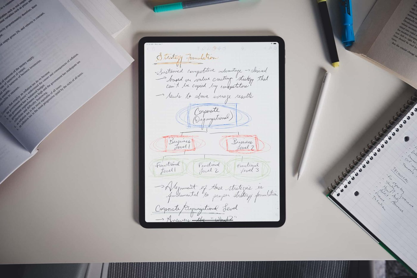writing notes on ipad pro