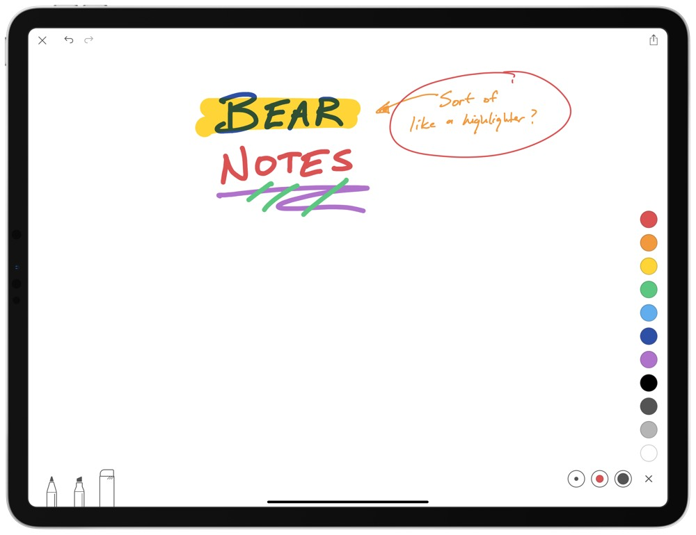 Bear's sketch functionality