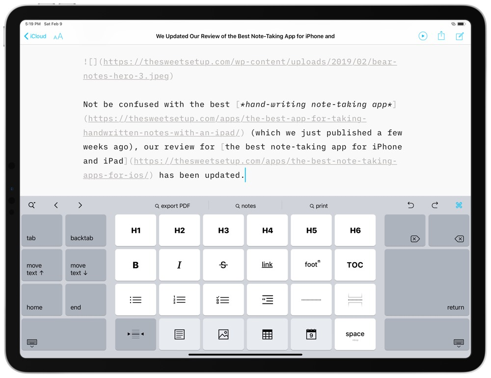 iA Writer iPad keyboard light