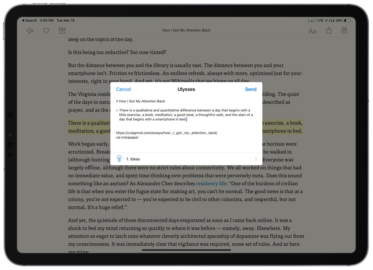 Ulysses Share Sheet in Instapaper