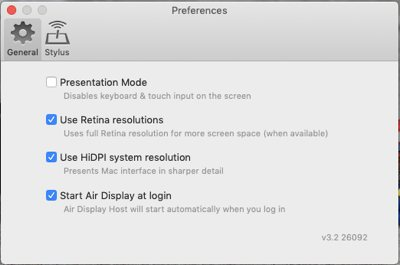 Additional Air Display settings