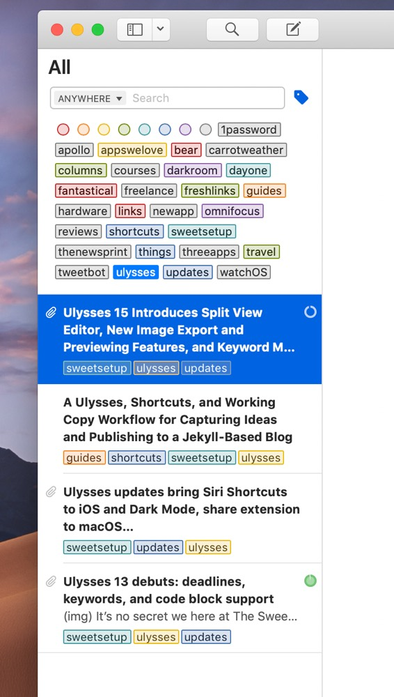 Ulysses Search on the Mac
