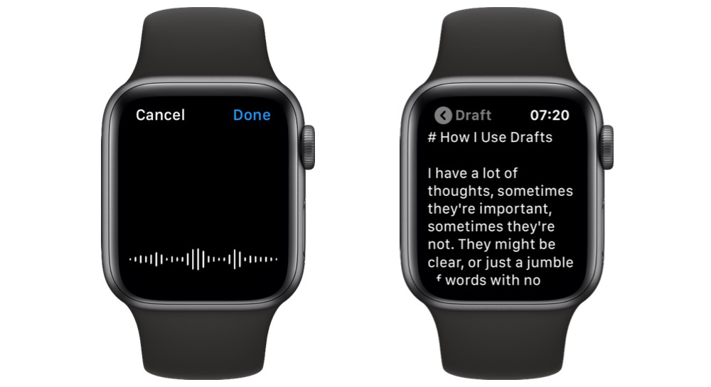 Dictating to Drafts on Apple Watch
