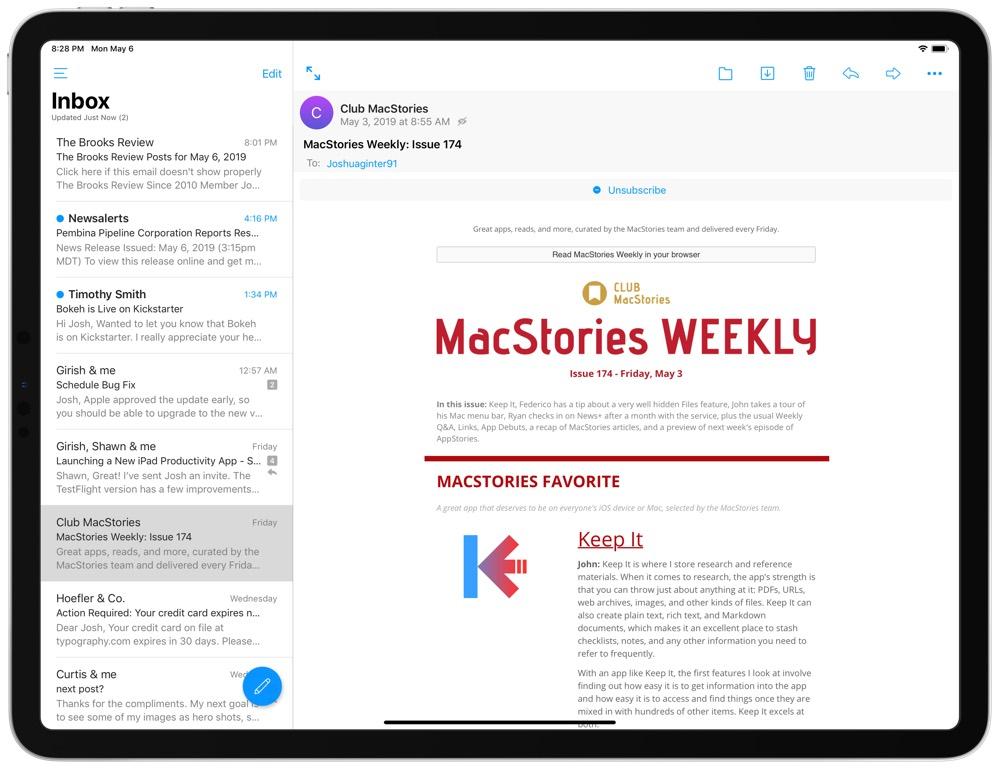 Edison iPad email app