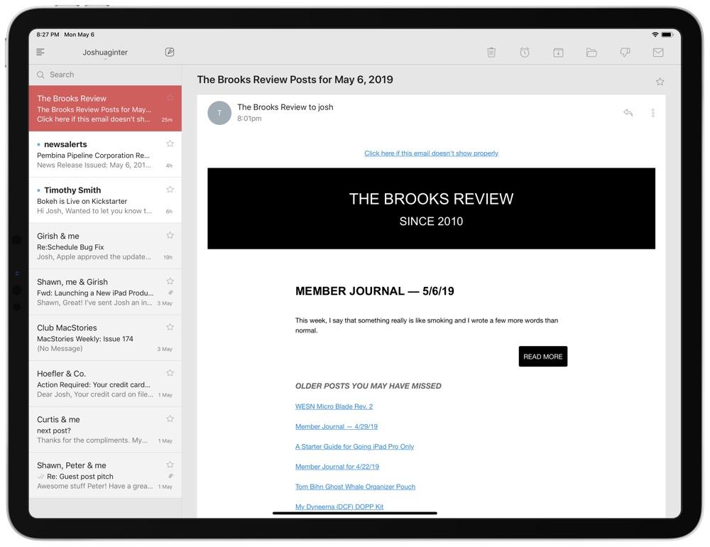 Newton iPad email app