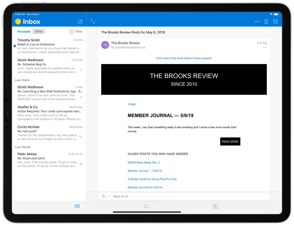 Outlook iPad email app