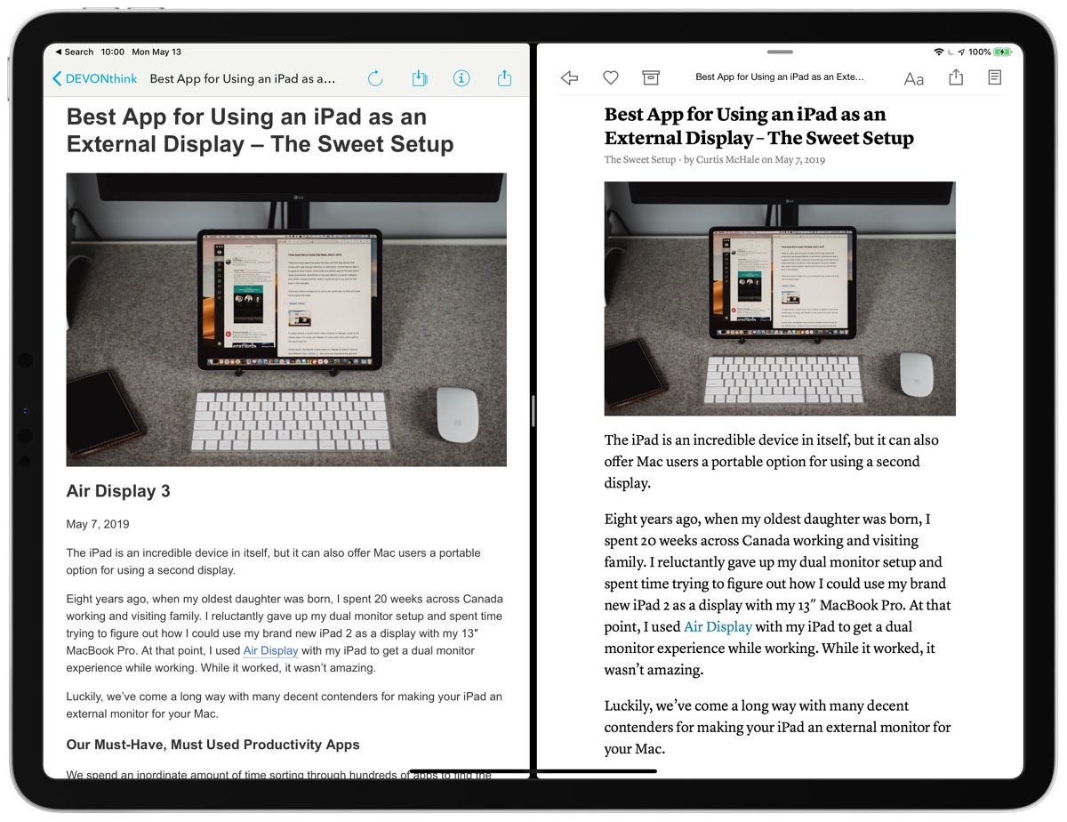 DEVONthink on left Instapaper on right