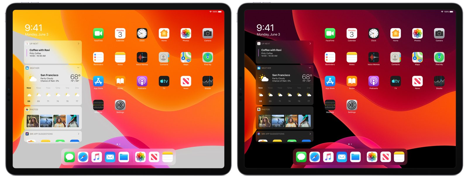 iPadOS light and dark