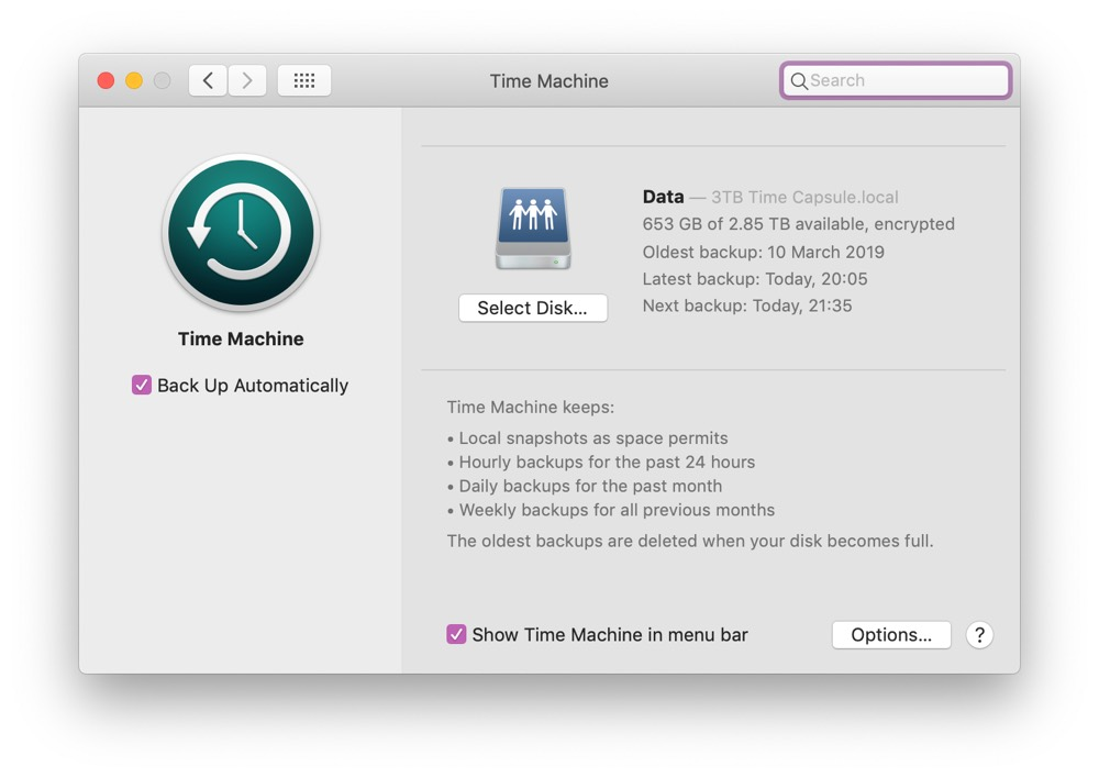 macOS Time Machine Preferences pane
