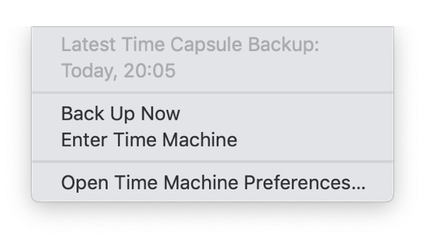 Time Machine manual backup from menu bar