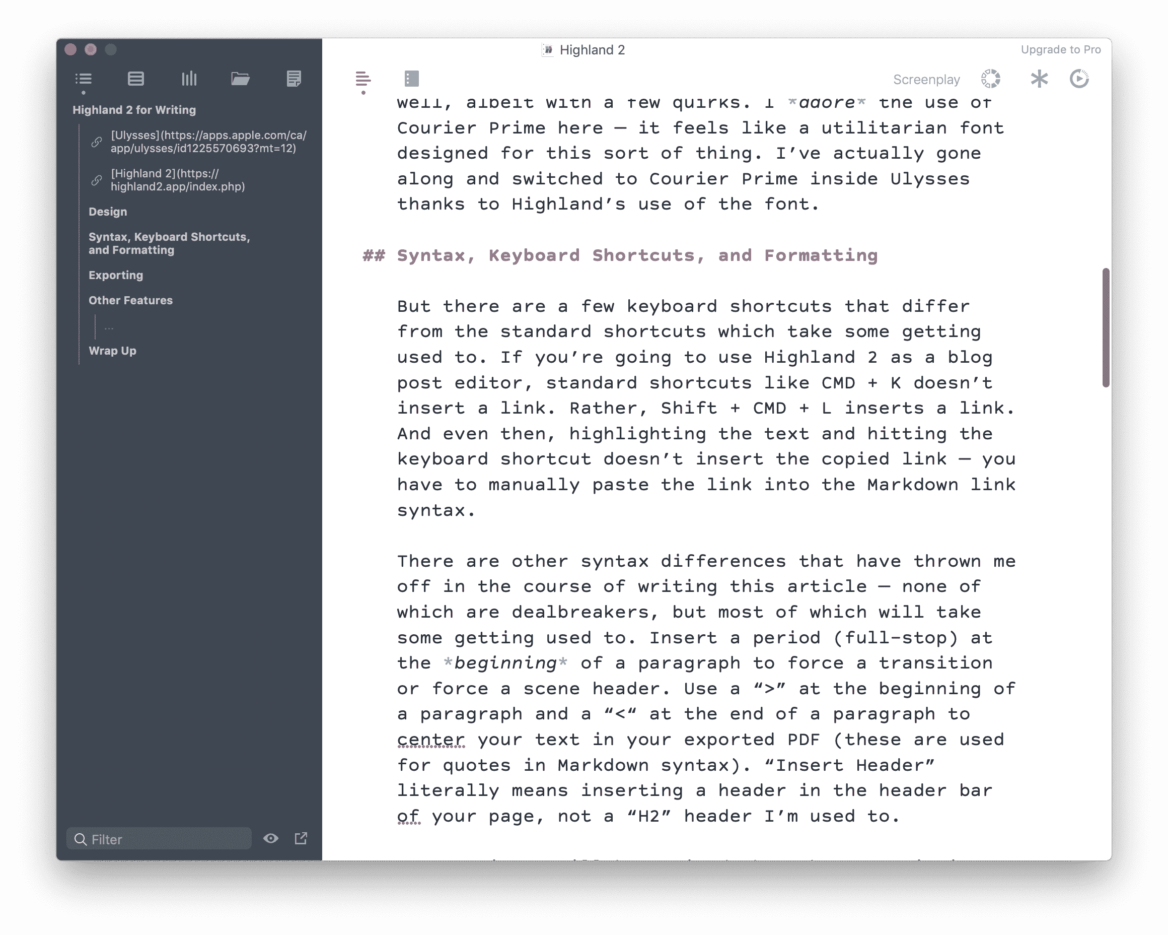 Highland 2 Is a Screenwriting App That Can Handle All Kinds