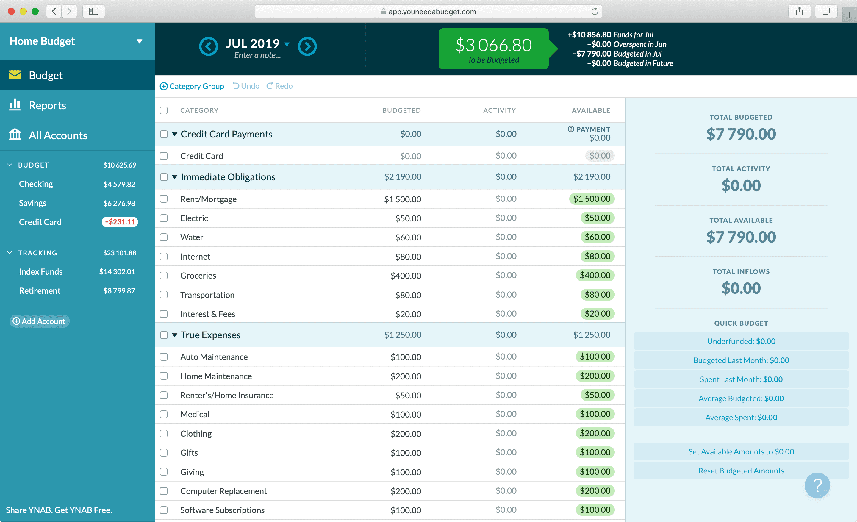 YNAB main screen