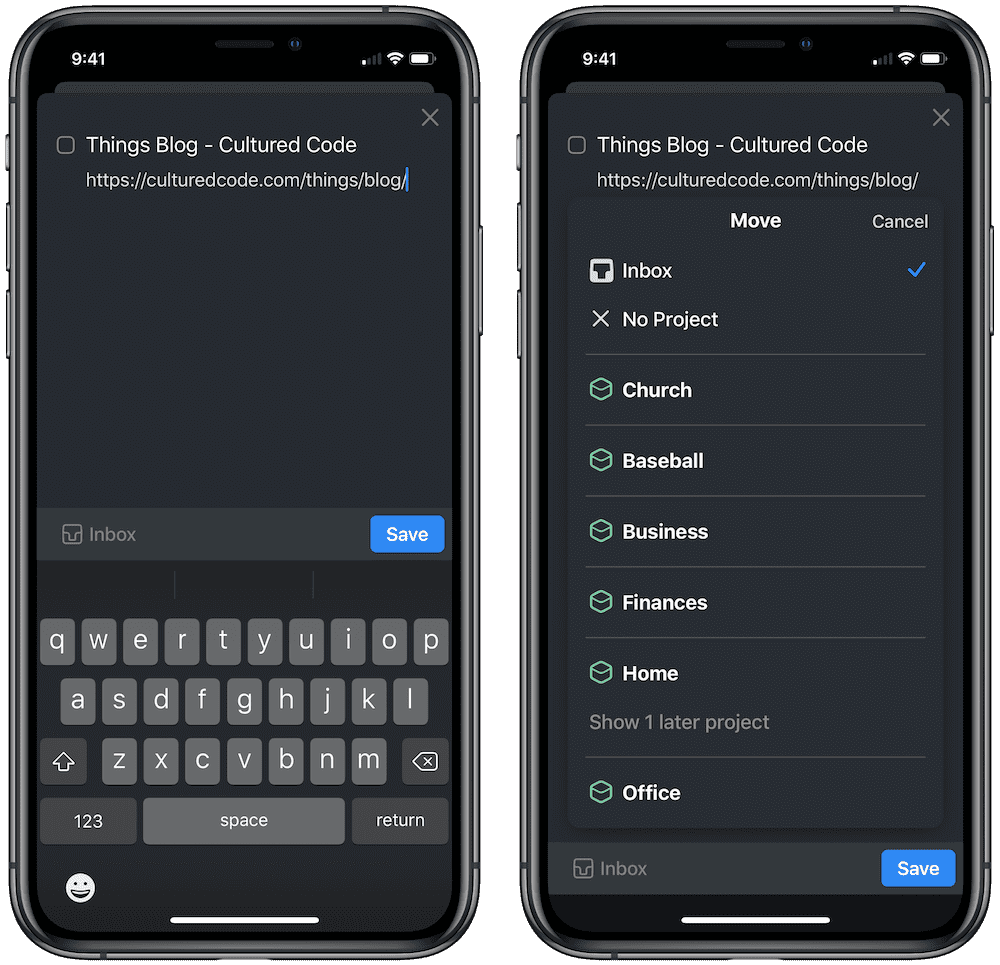 Things 3.10 for iOS 13 Share Extensions