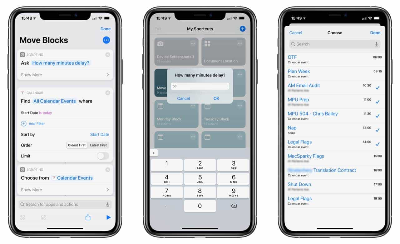 David Sparks iOS 13 shortcut move calendar block