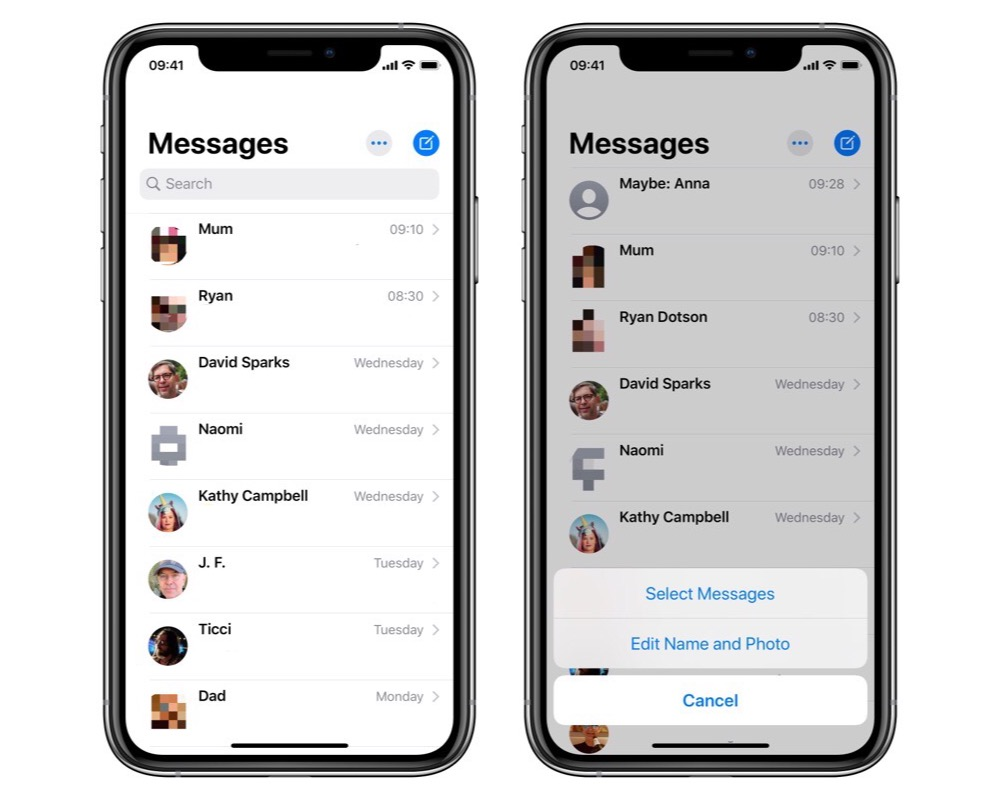 Messages list and options