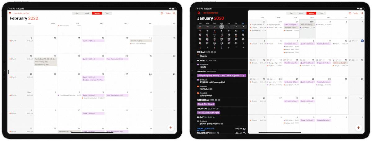 Fantastical calendar sets on iPad