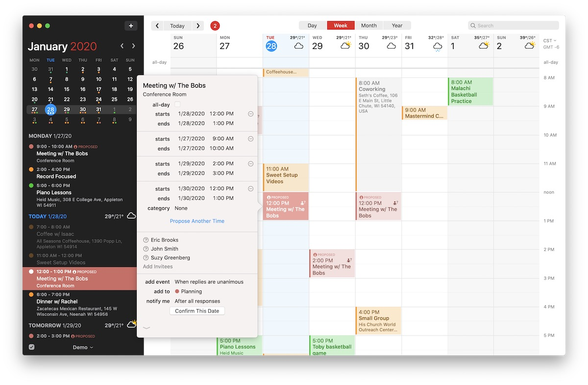 Fantastical proposed meetings time on Mac