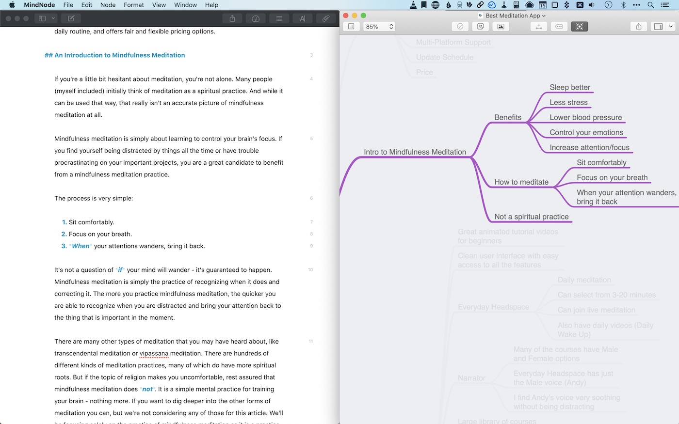 My writing setup with Ulysses and MindNode