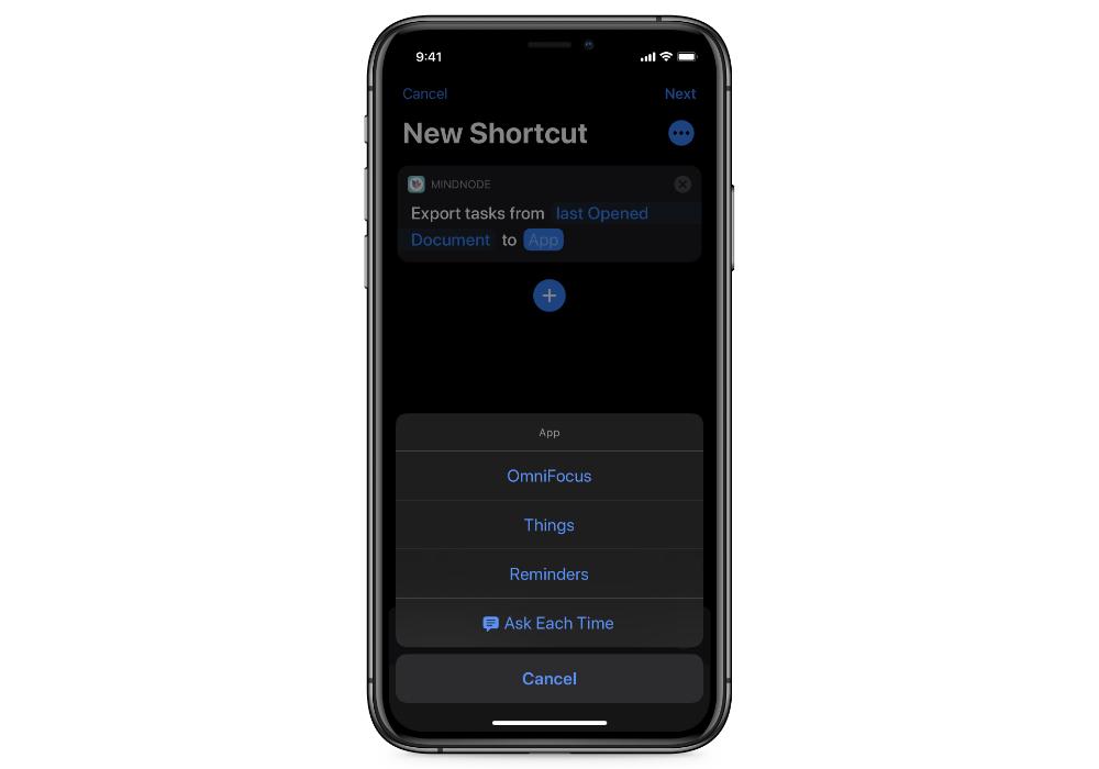 Export tasks Shortcut