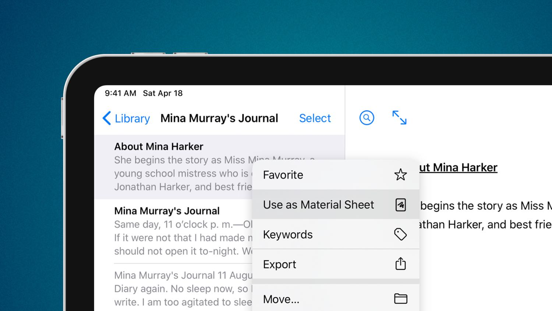 You can designate material sheets in Ulysses using the contextual menu
