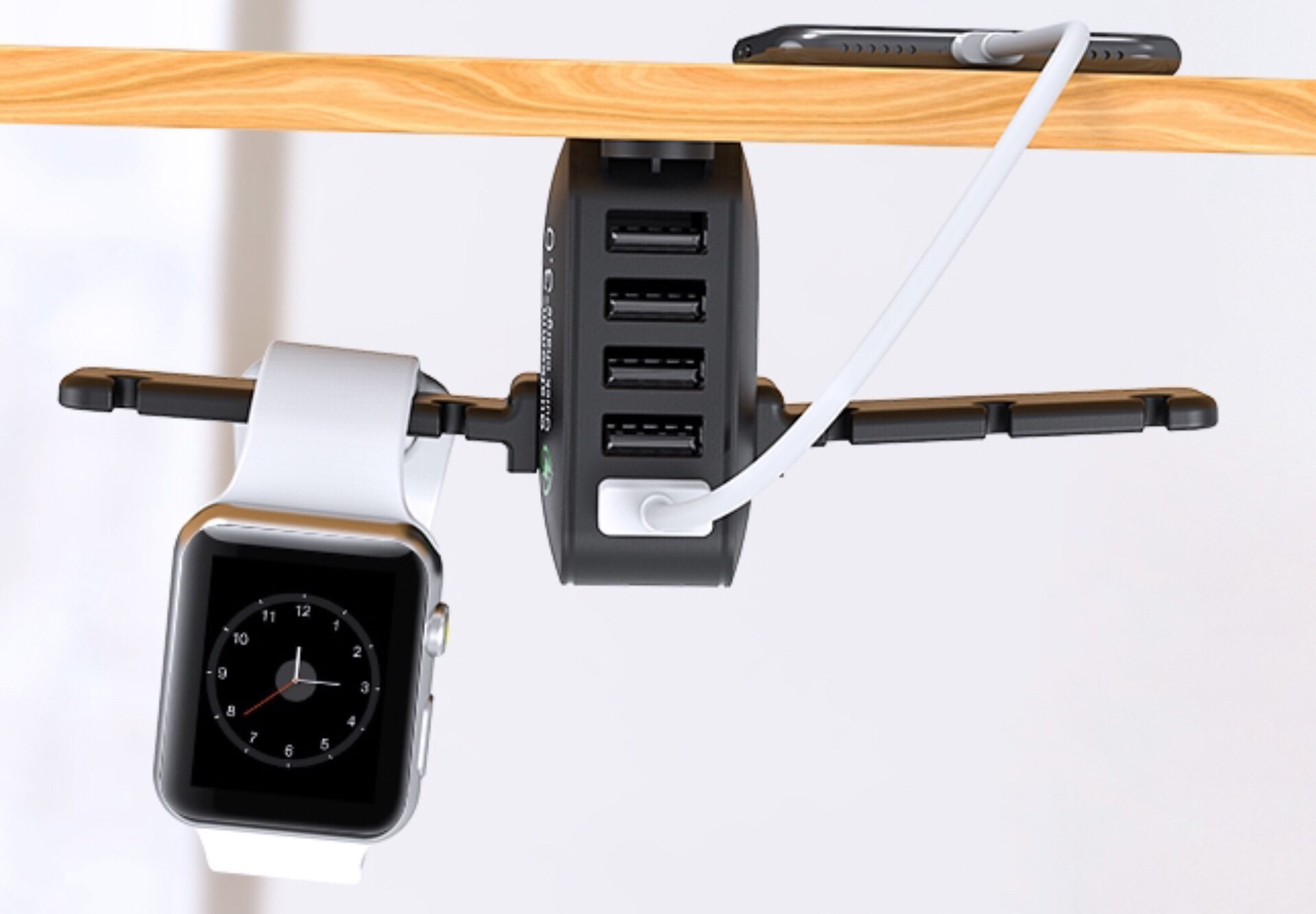 Yostyle Under-Desk Headphone + Apple Watch Stand with USB Charger