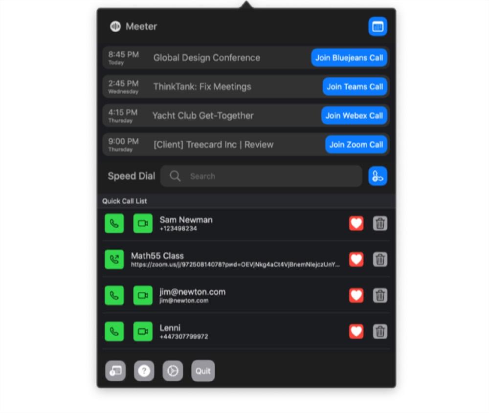 Meeter Pro menu bar list