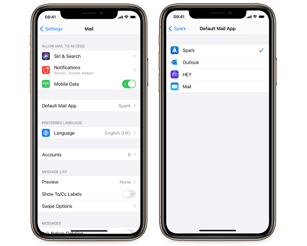 Set default email client in iOS 14