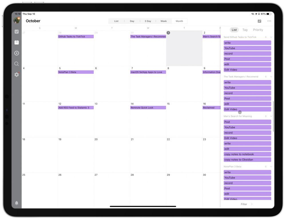 Screenshot of content calendar in TickTick