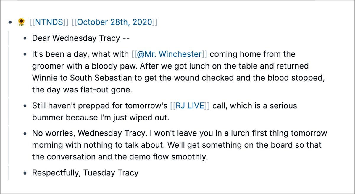 Tracy Winchell's Note to Next Day Self