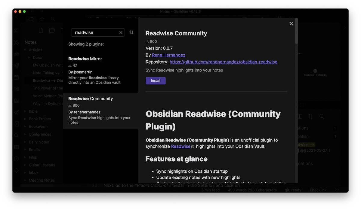 Syncing Digital Highlights from Readwise to Obsidian