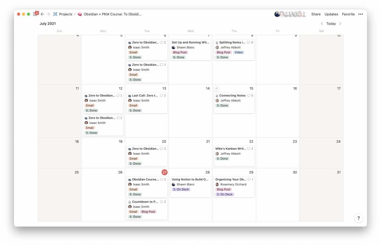 Editorial Calendar in Notion